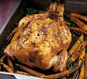 roasted chicken & carrots